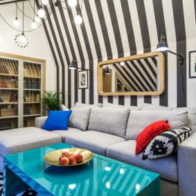 gương trong ý tưởng thiết kế nội thất phòng khách