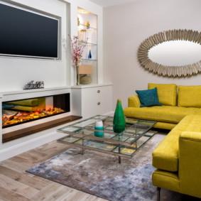 gương trong nội thất của ý tưởng thiết kế phòng khách