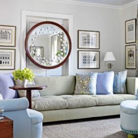 gương trong nội thất phòng khách