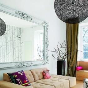 gương trong nội thất của ảnh thiết kế phòng khách