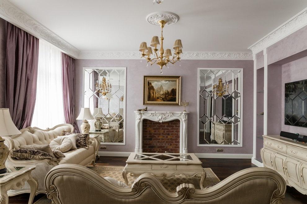 gương trong phòng khách ý tưởng nội thất