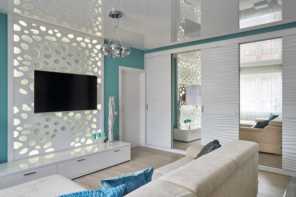 gương trong nội thất của các lựa chọn thiết kế phòng khách