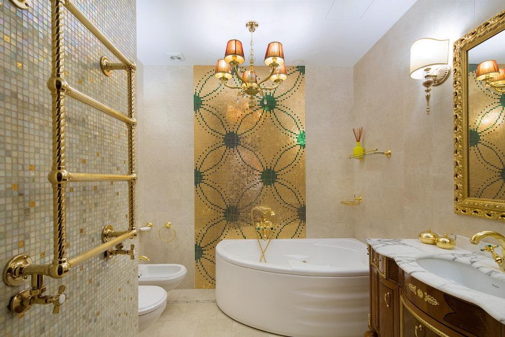 Décor de salle de bain plaqué or