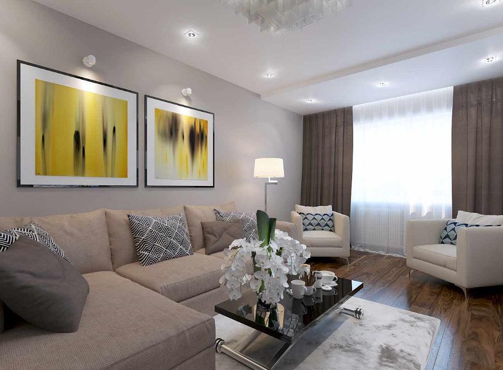 Peintures modulaires dans le salon d'une maison privée