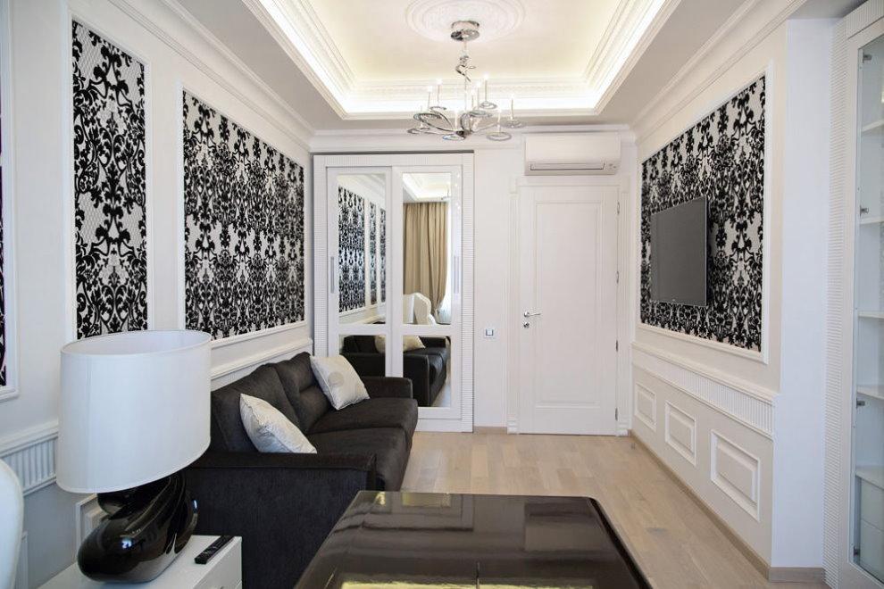 Décorer des murs blancs avec du papier peint foncé
