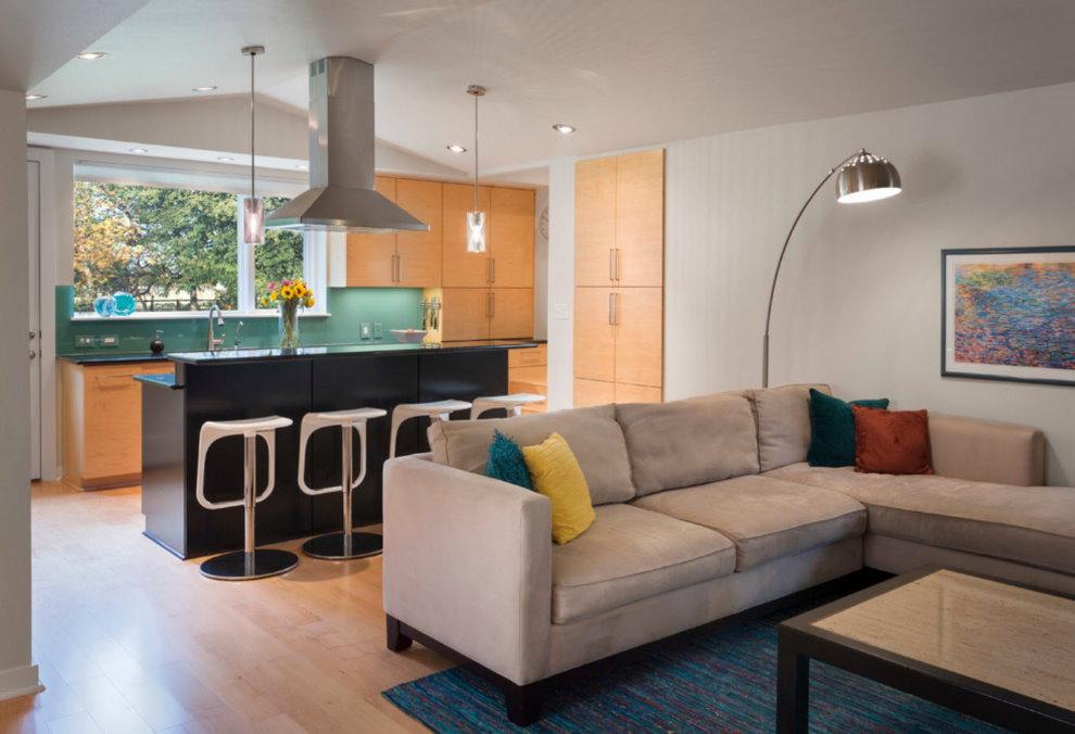 Phân vùng sofa phòng khách nhà bếp