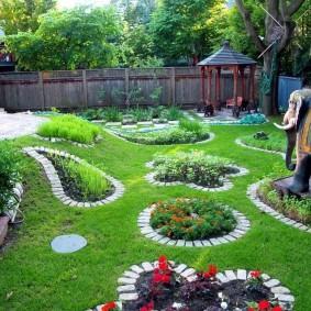 Bordures en briques autour des parterres de jardin