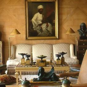 Salon confortable de style indien