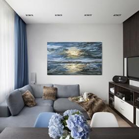 Plafond blanc dans un petit salon