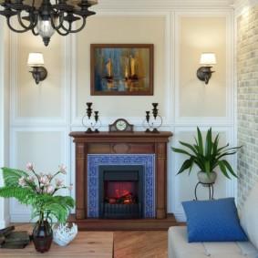 Plantes vivantes dans une pièce avec cheminée