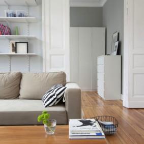 Portes blanches dans le salon avec stratifié