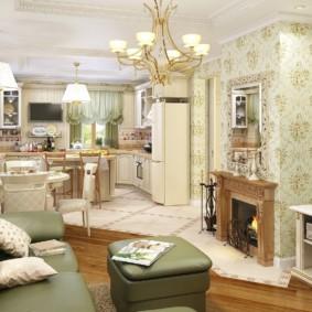 Papier peint floral dans un salon rustique