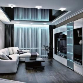 Plafond tendu noir dans un petit salon