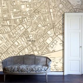 Fond d'écran avec une carte de la ville sur le mur dans le hall