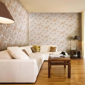 Zonage papier peint vinyle espace salon
