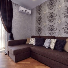 Canapé d'angle avec revêtement marron