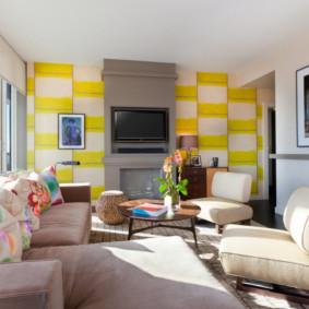 Papier peint lumineux dans un salon moderne