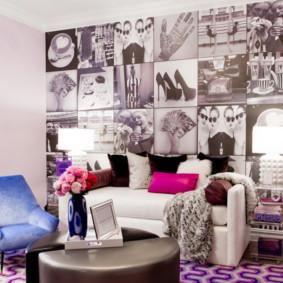 Peintures murales intéressantes sur le canapé du salon