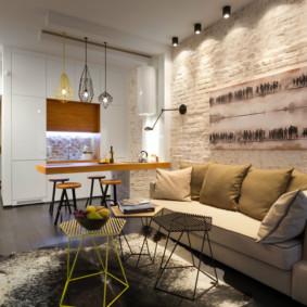 Mur de briques dans un salon confortable