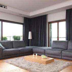 Sofa góc màu xám