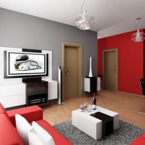 Phòng khách màu xám đỏ trong một căn hộ nhà bảng