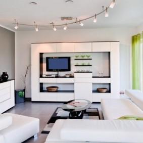 Phòng khách công nghệ cao màu trắng