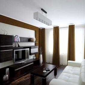 Nội thất mô-đun màu tối cho một căn phòng hiện đại