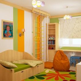 Conception de chambre d'enfants avec des accents orange