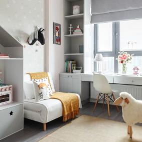 Intérieur d'une chambre d'enfants avec des meubles modulables