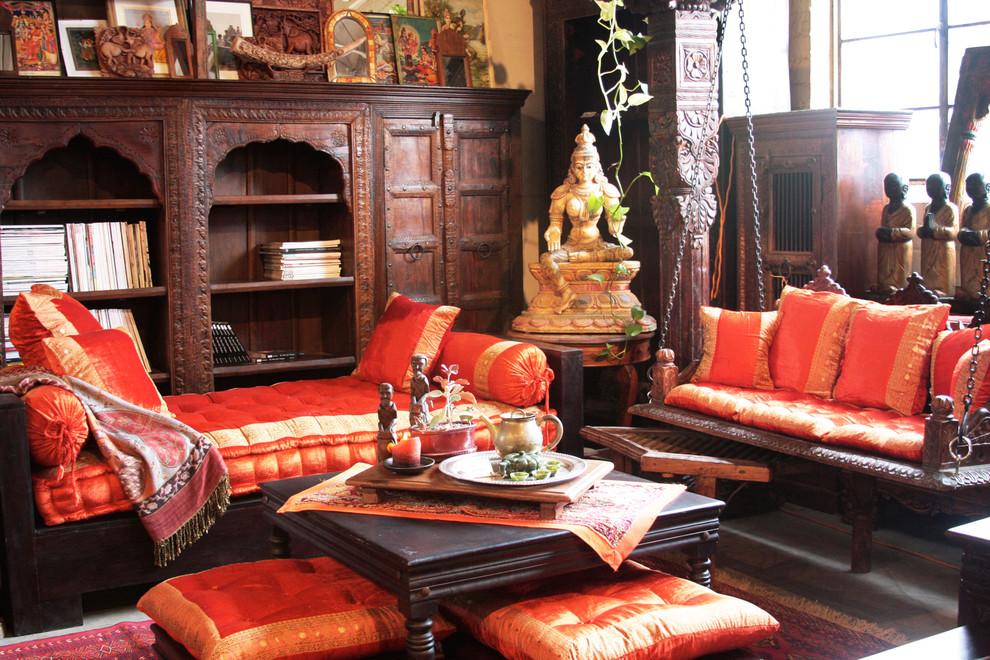 Sièges lumineux avec des ornements nationaux sur des meubles indiens