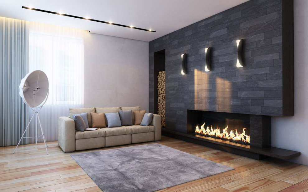 Đá xám trong một căn phòng theo phong cách tối giản.