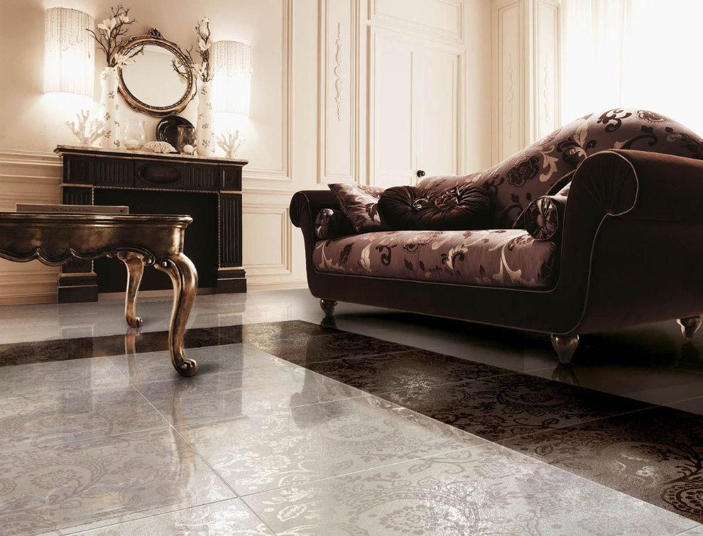 Revêtement de sol en céramique dans le salon de style classique