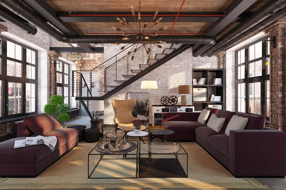 Escalier en métal dans un salon de style loft