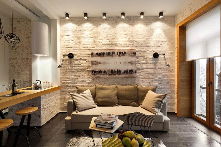Séjour lumineux de 18 m² en style loft