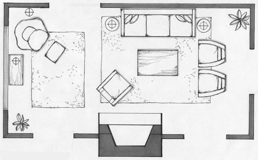 Sắp xếp đồ đạc trong phòng hình chữ nhật có lò sưởi