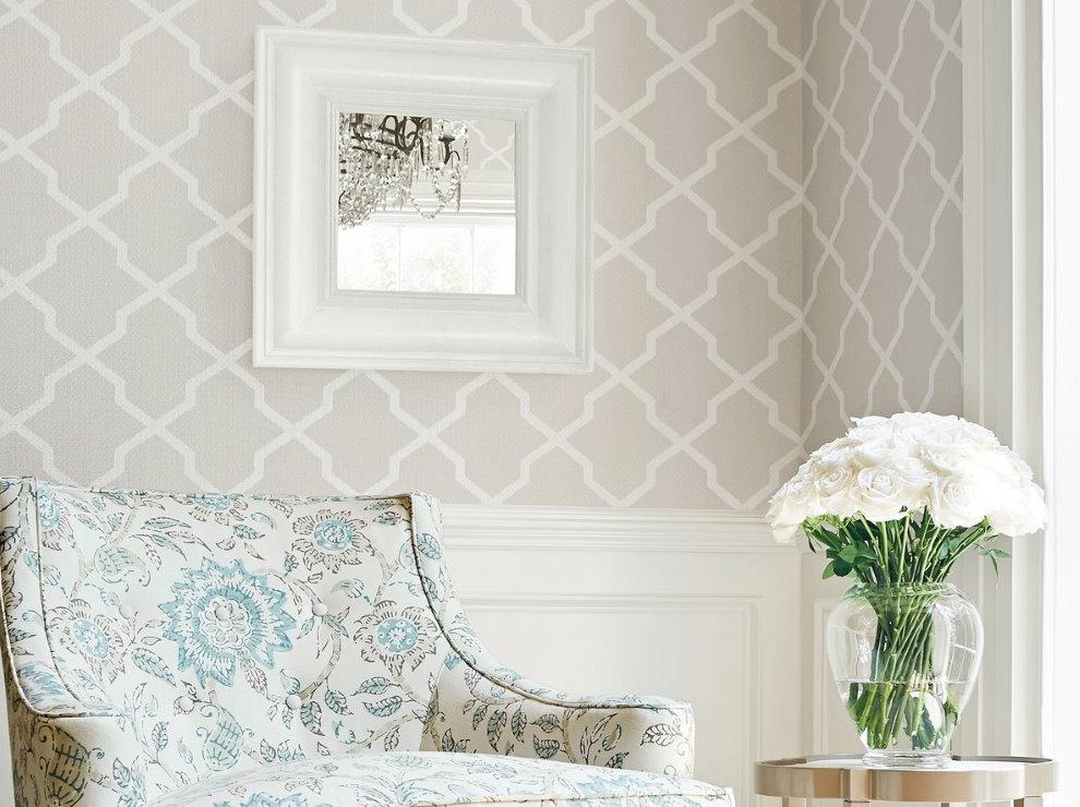 Papier peint clair dans le style salon Provence