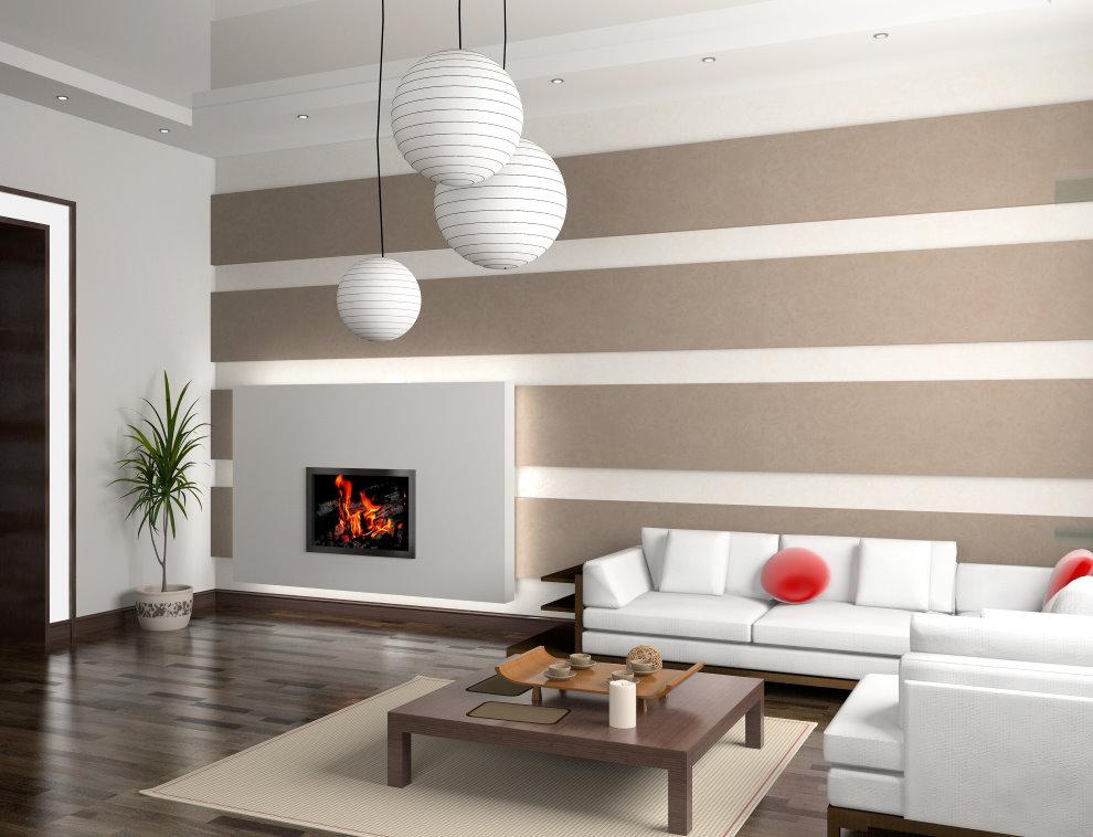 Intérieur d'une chambre moderne avec papier peint en papier