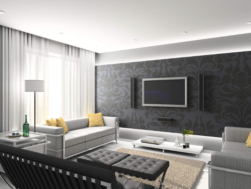 Papier peint foncé sur le mur du salon dans un style high-tech