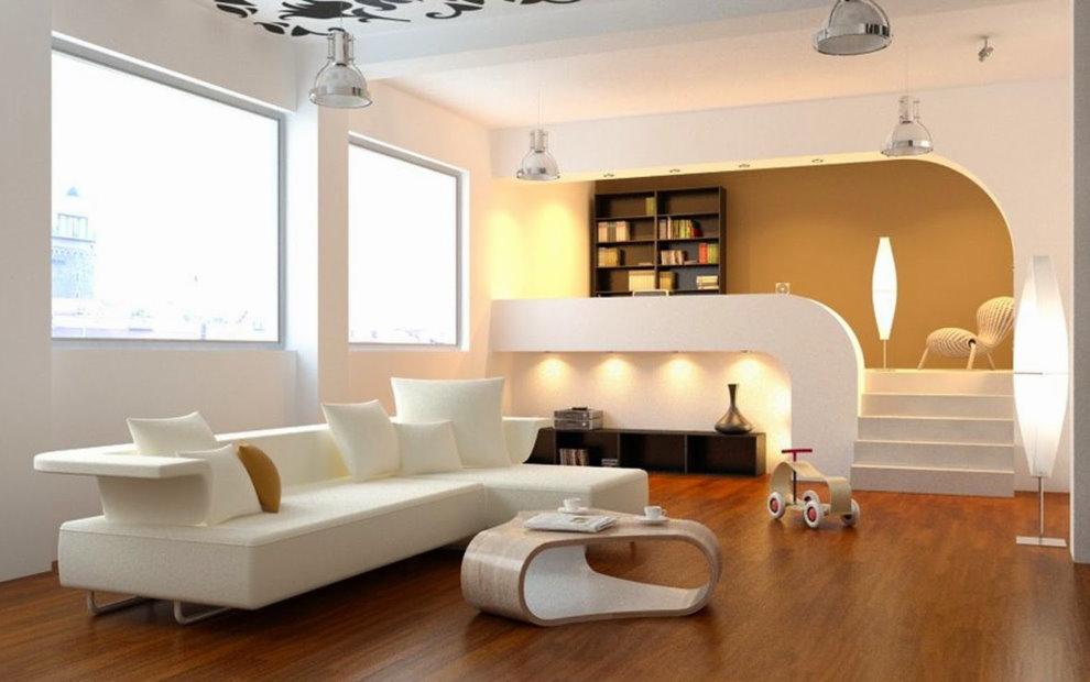 Phòng khách màu trắng với bục cao