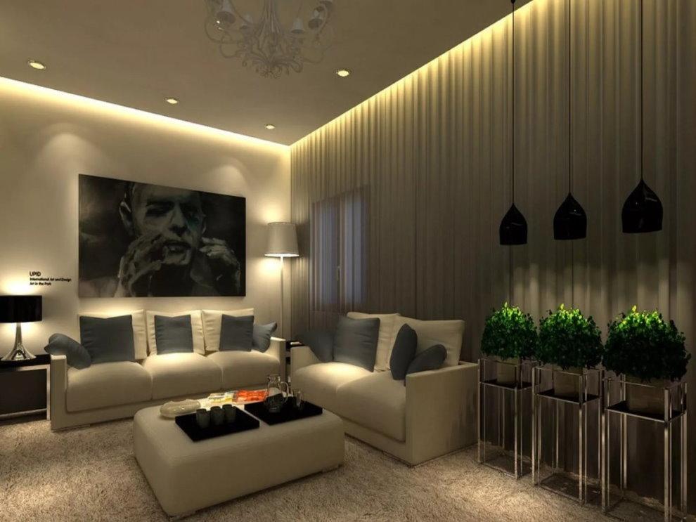 Trần nhà cao vút trong nội thất của một căn phòng hiện đại