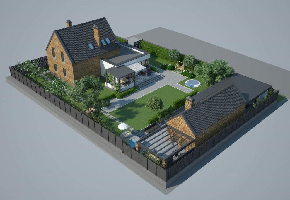 Projet d'aménagement d'un terrain de 8 acres avec garage