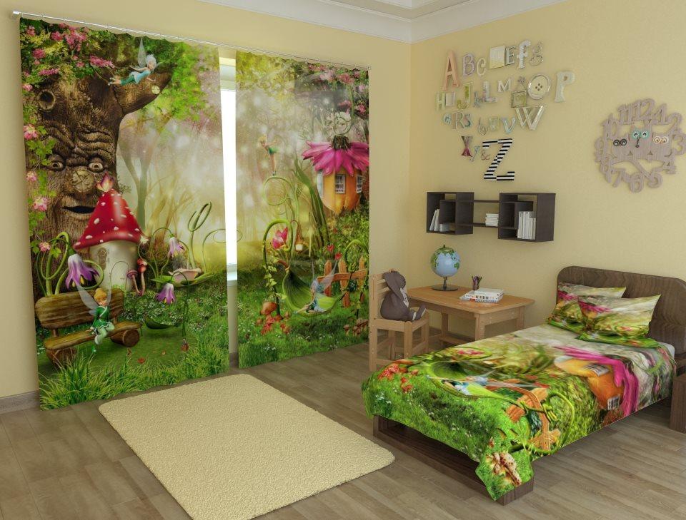 Impression photo de conte de fées sur les rideaux de la chambre de la fille