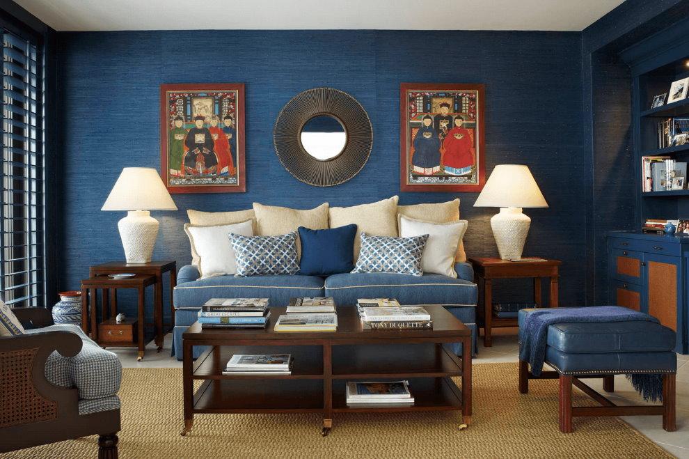Décoration murale de la salle avec papier peint bleu