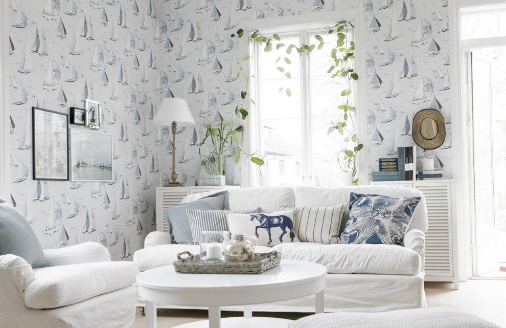 Papier peint à l'intérieur de la salle de style scandinave