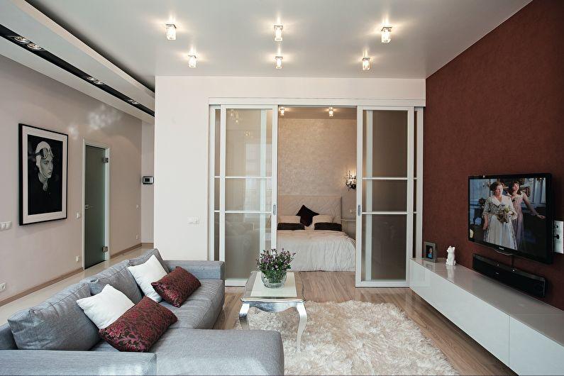 Portes coulissantes dans un salon carré 4 par 4