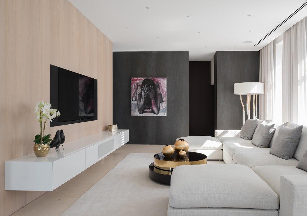 Murs de différentes couleurs dans un salon de style moderne