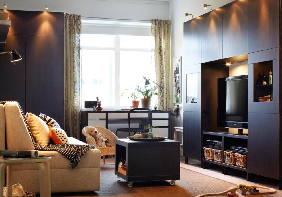 Lampes sur les façades des meubles d'armoires