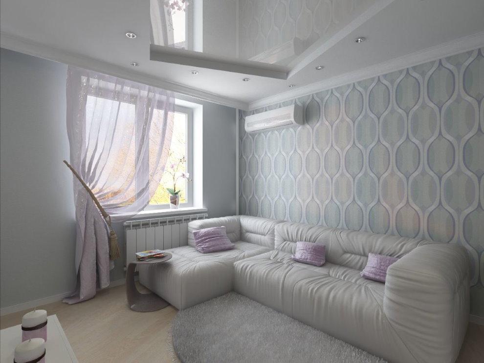 Canapé d'angle dans le hall avec papier peint de couleur claire