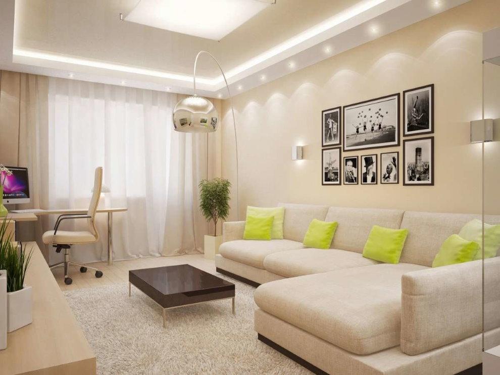 Éclairage de plafond LED dans le salon de 18 m²