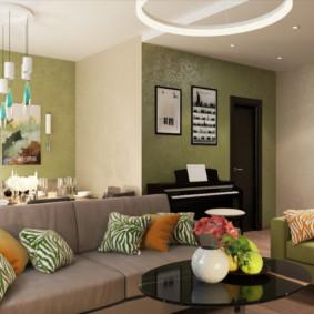 Phòng khách ấm cúng trong căn hộ hai phòng